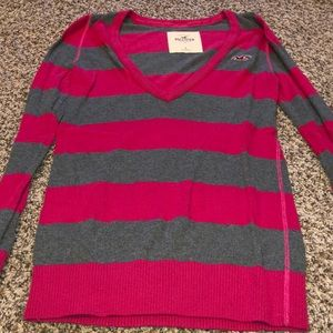 Hollister Pink/Gray striped sweater Large